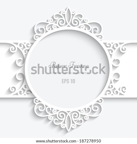 Abstract paper frame with shadow, swirly round vignette, ornamental vector label on white background, eps10 - stock vector