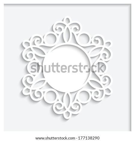 Abstract paper frame with shadow, vector round vignette, ornamental label on white background, eps10 - stock vector