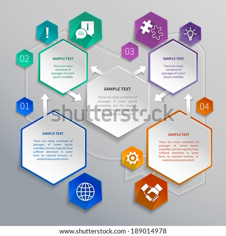 Abstract paper hexagons geometric shape infographics with business elements design template vector illustration - stock vector