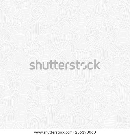 Abstract paper lace texture, vector seamless pattern, waves, clouds background. - stock vector