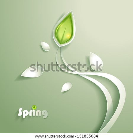 Abstract paper plants - stock vector