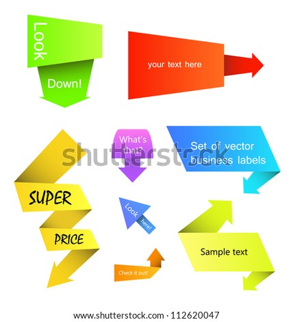 Abstract paper pointer labels with arrows