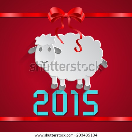 Abstract paper sheep with bow and ribbon and 2015 message on red background. vector illustrations. - stock vector
