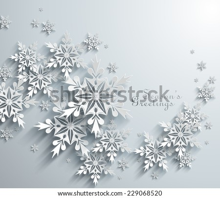 Abstract Paper Snowflakes - stock vector