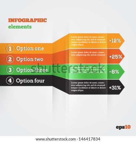Abstract paper template with striped arrows for infografics - stock vector