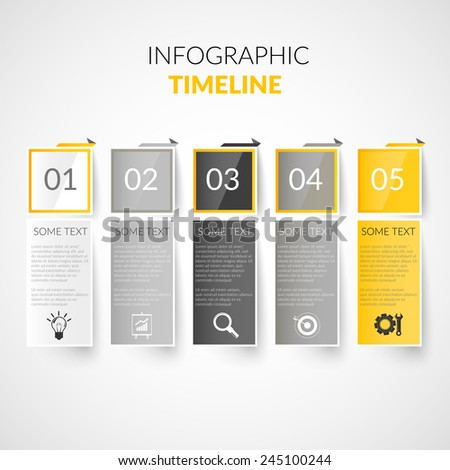 Abstract paper timeline infographics design template with bookmarks business icons vector illustration - stock vector