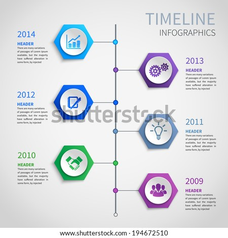Abstract paper timeline infographics design template with hexagon buttons and business icons vector illustration - stock vector