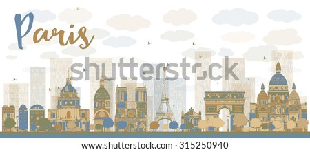 Abstract Paris skyline with color landmarks. Vector illustration. Business travel and tourism concept with historic buildings. Image for presentation, banner, placard and web site. - stock vector