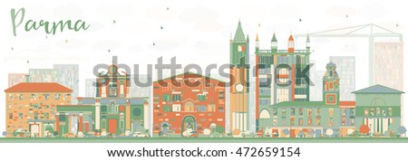 Abstract Parma Skyline with Color Buildings. Vector Illustration. Business Travel and Tourism Concept with Historic Buildings. Image for Presentation Banner Placard and Web Site.