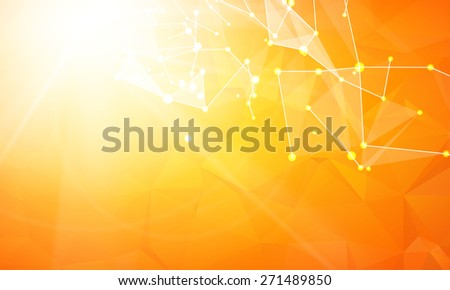 Abstract particles over orange background with shining sparks. Vector illustration. - stock vector