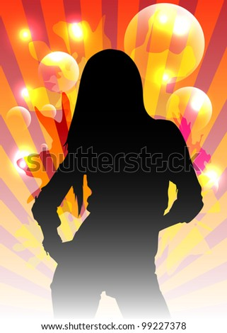 Abstract Party Background with Beautiful Woman - stock vector
