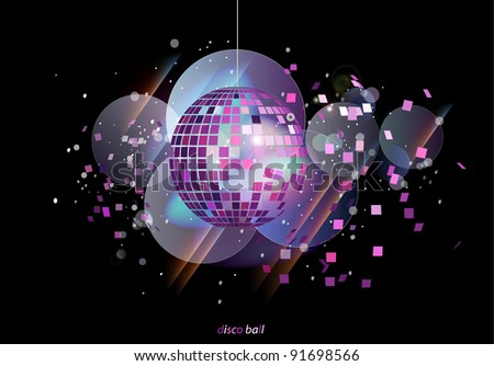 Abstract party background with disco ball - stock vector