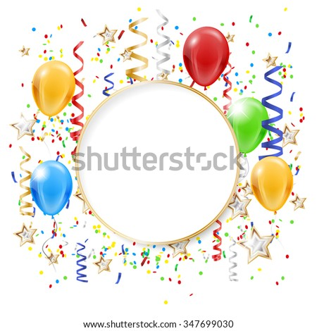 Abstract party background with flying confetti, inflatable balloons and copy space. Vector illustration. - stock vector