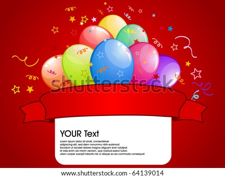 abstract party balloons with space for text - vector illustration. - stock vector