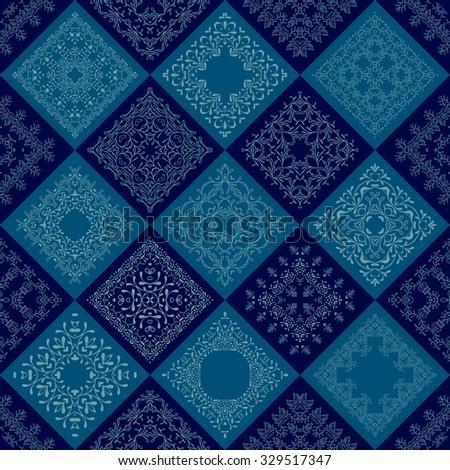 Abstract Patchwork tiles seamless background. Vector eps10. Floral pattern texture design. Mosaic old fashion creative backdrop. Color dark, light blue, indigo, aqua, teal.