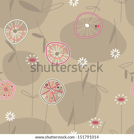 abstract pattern background autumn flowers circles - stock vector