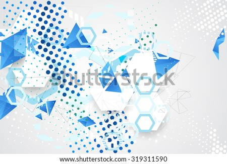 Abstract pattern dotted hexagons and triangle. Circle and rhombus, technology space, structure geometrical, vector illustration - stock vector
