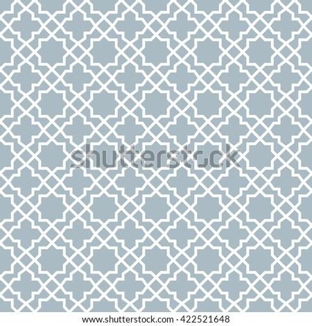 Abstract pattern in Arabian style. Seamless vector background. Blue and white graphic pattern  - stock vector