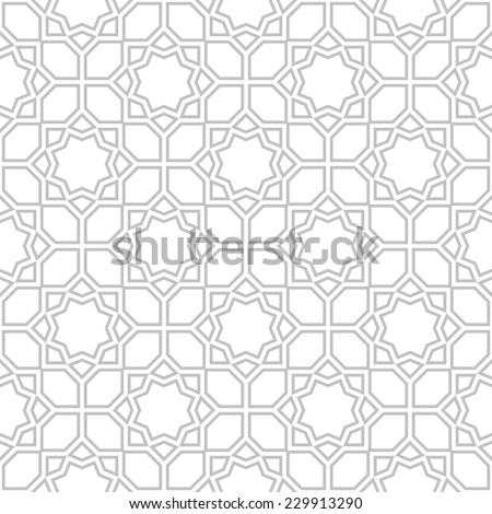 Abstract pattern in Arabian style. Seamless vector background. Gray and white texture. - stock vector