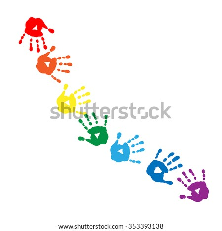 Abstract pattern of a colors of the rainbow handprints - stock vector