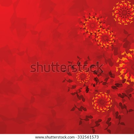 Abstract pattern of floral circular motifs on an red background