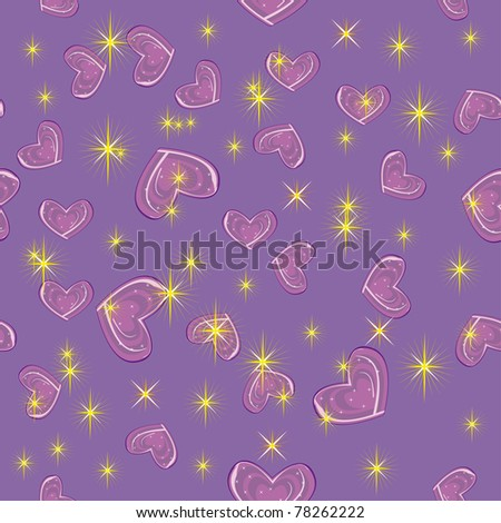 abstract pattern with bright stars and hearts. Illustration - stock vector