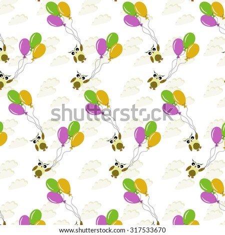 Abstract pattern with cute owls, balloons and clouds - stock vector