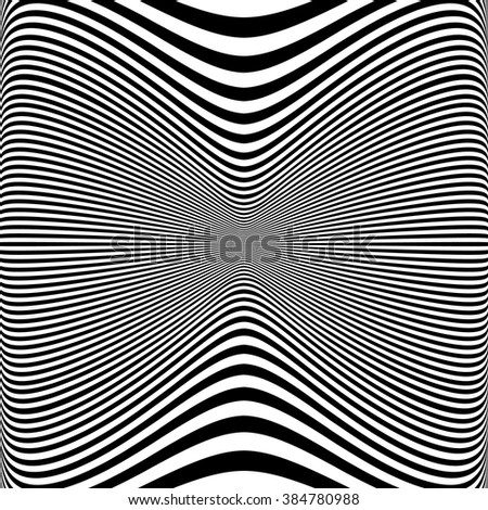 Abstract pattern with distorted lines. Monochrome geometric illustration.