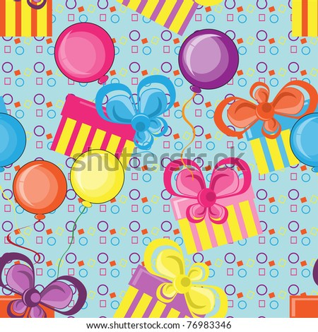 Abstract  pattern with gifts and balloons