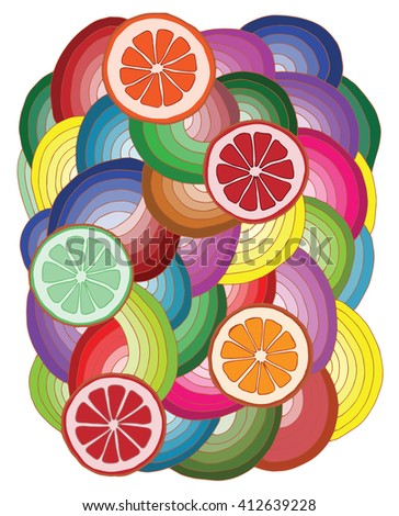Abstract pattern with multicolor citrus fruits. Fruits collection on the white background. For design T-shirt, greeting card or other aims.