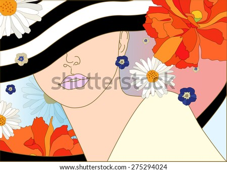 Abstract pattern woman with hat in striped ( white and black) ,  floral  background (daisy, poppy),  yellow dress,  fashion art, fragrance, perfume,  trendy stylish texture spring summer, cosmetics  - stock vector