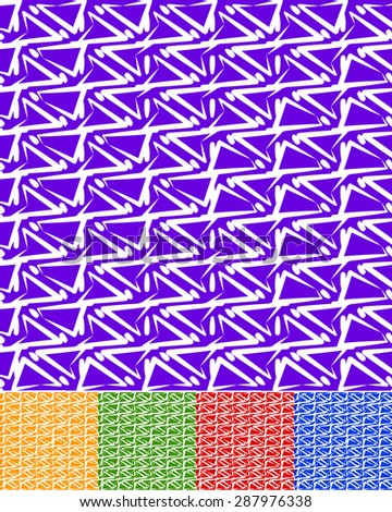 Abstract patterns in 5 colors. Purple, yellow(orange), green, red, and blue in colors. Zigzag shapes abstract texture. Editable vector. - stock vector