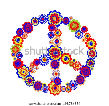 Abstract peace flower symbol - stock vector