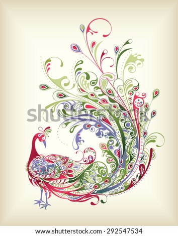 Abstract Peacock - stock vector