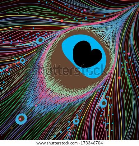 Abstract peacock feather. - stock vector