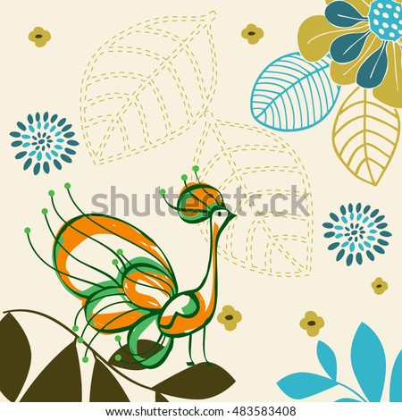 Abstract Peacock vector background with flowers