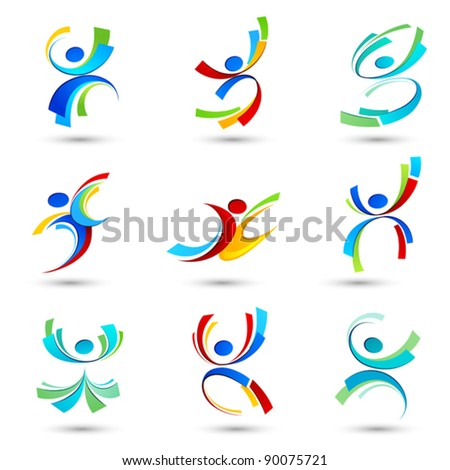 Abstract people icons - stock vector