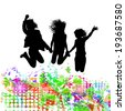 Abstract people jumping joy. Vector  - stock