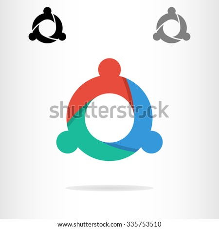 Abstract people logo template. Teamwork logo. Red, blue, green abstract people. A set of three people logos - stock vector