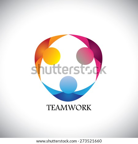 abstract people team & teamwork - vector logo icon. this icon can also represent friends together, employees union, kids or children playing, unity, diversity - stock vector