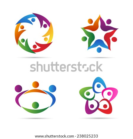 Abstract people vector design represents teamwork, diversity, signs and symbols.