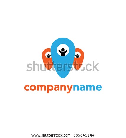 Abstract people Vector logo template. Design concept for search for employees and job, business, human resource and professional headhunting, social network. - stock vector