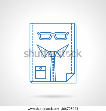 Abstract person with glasses and tie. People resources manager. Symbol for headhunting, recruitment. Blue flat line vector icon. Single web design element for mobile app or website. - stock vector
