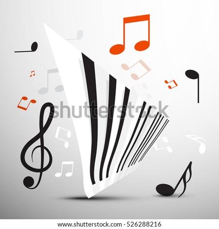 Abstract Piano Keyboard Notes Vector Music Stock Vector Hd Royalty