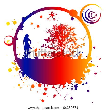 abstract picture with a girl. vector - stock vector
