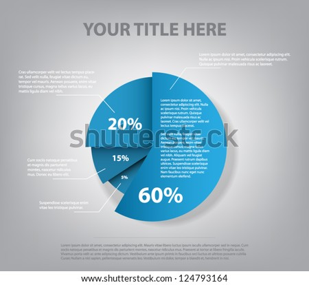Abstract pie chart graphic for business design, infographics, reports, step presentations, number options or workflow layout. Clean and modern style - stock vector