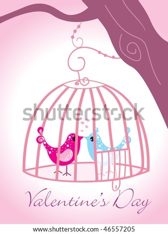 abstract pink background with cute birds