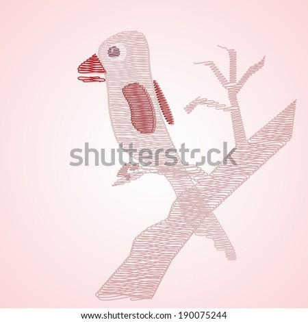 Abstract pink bird on tree. Vector EPS 10. - stock vector