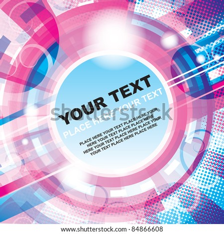 Abstract pink-blue techno circle background with place for your text.