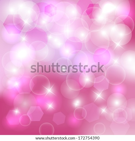 Abstract pink bokeh background. Magic background glitter bokeh lights. Defocused lights background with space for your text. Vector illustration /EPS10 - stock vector